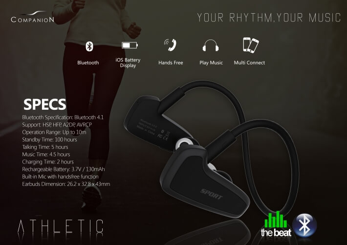 Casti cu microfon In-Ear The Beat Athletic 100 cu Bluetooth