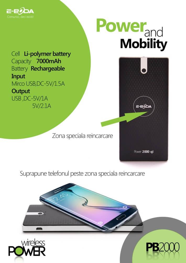Baterie externa Power2000 Qi E-Boda de 7000 mAh cu incarcare wireless - Negru